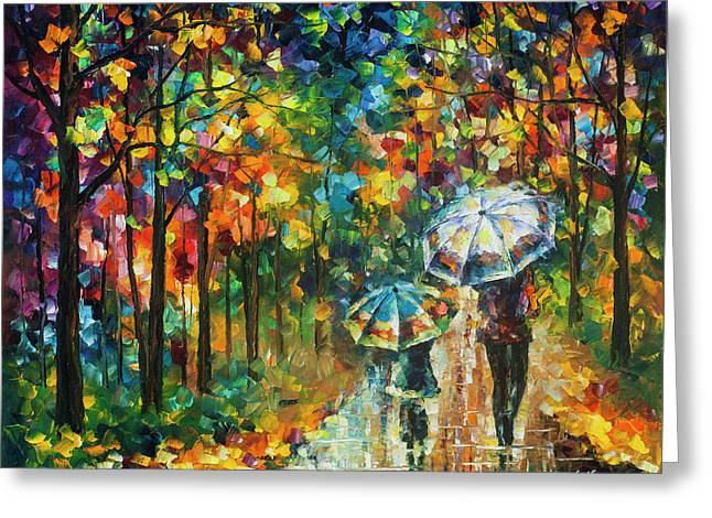 The Rain Of Childhood Greeting Card by Leonid Afremov