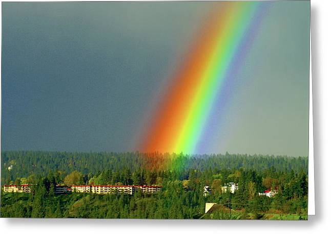 Greeting Card featuring the photograph The Rainbow Apartments by Ben Upham III