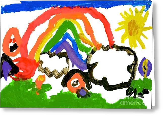 The Rainbow By Isabella At 5 Greeting Card by Claudia Ellis