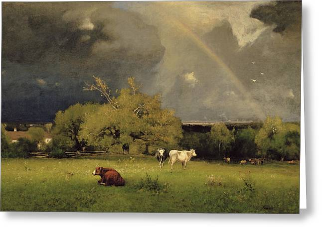 After The Storm Greeting Cards - The Rainbow Greeting Card by George Inness Senior