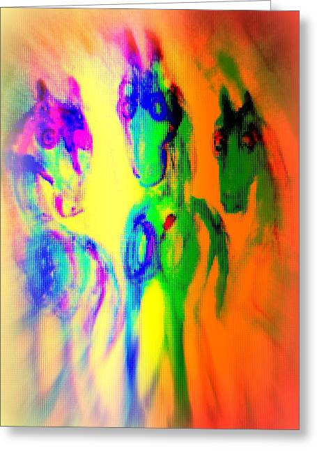 The Rainbow Horses Are Coming Closer And You Don't Know What To Say  Greeting Card by Hilde Widerberg