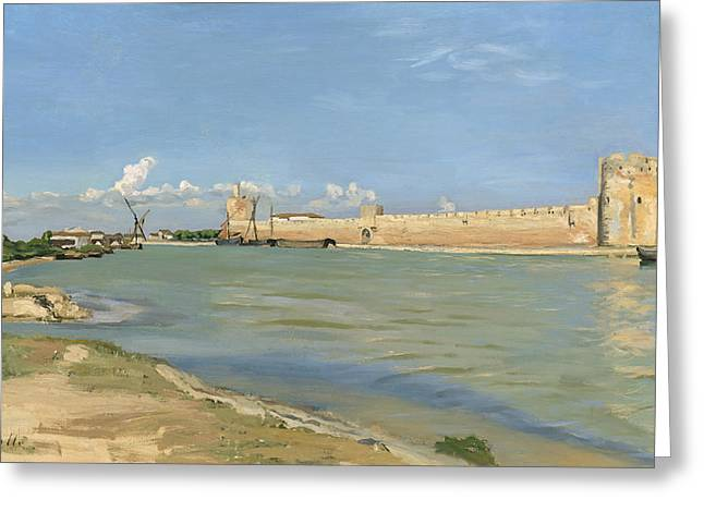 The Ramparts At Aigues Mortes Greeting Card by Jean Frederic Bazille