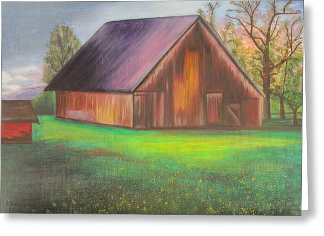 The Ranch Greeting Card by Leslie Gustafson
