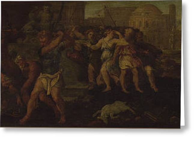 The Rape Of The Sabines Greeting Card by Follower of Giulio Romano