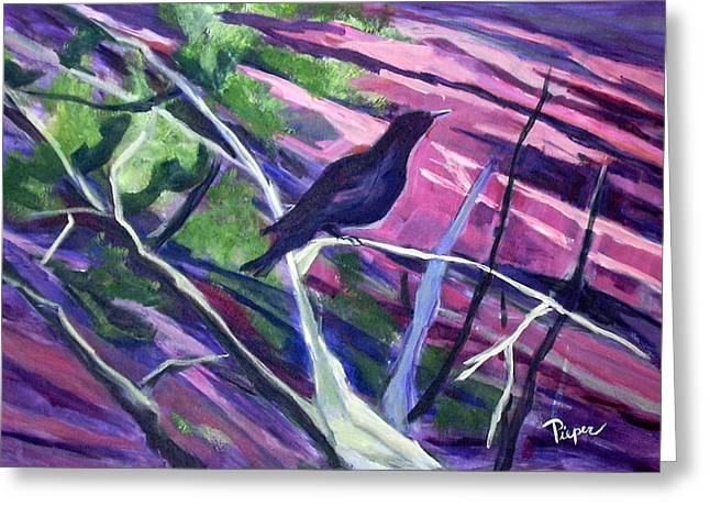 Park Scene Paintings Greeting Cards - The Raven Greeting Card by Betty Pieper