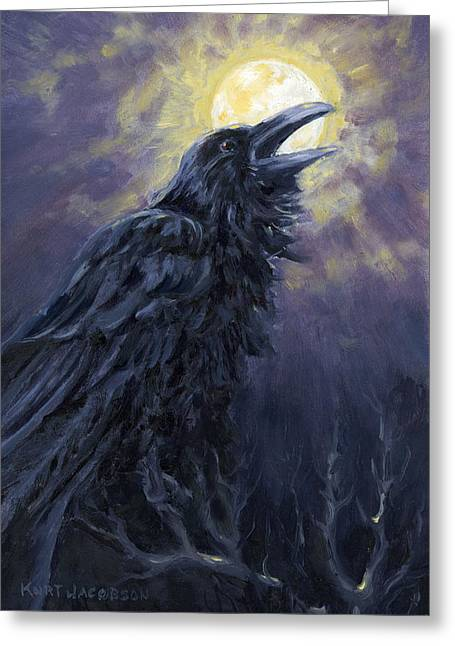 Greeting Card featuring the painting The Raven Called My Name by Kurt Jacobson