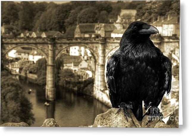 The Raven Of Knareborough Castle Greeting Card by Rob Hawkins