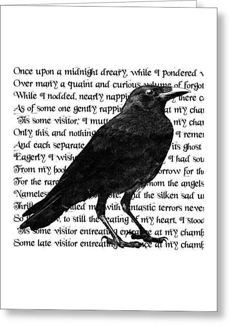 The Raven Poem Art Print Greeting Card by Sandra McGinley