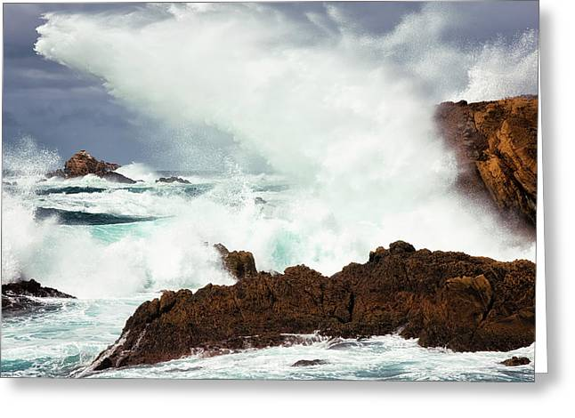 The Raw Power Of The Pacific At Point Lobos. Greeting Card by Larry Geddis