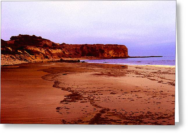 Greeting Card featuring the digital art The Reach At Portugese Bend by Timothy Bulone