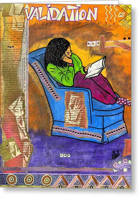 The Reader Greeting Card by Angela L Walker