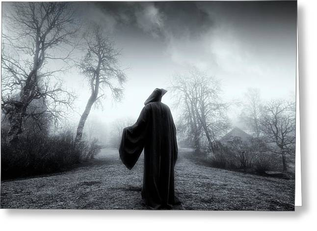 The Reaper Moving Through Mist And Fog Greeting Card by Christian Lagereek