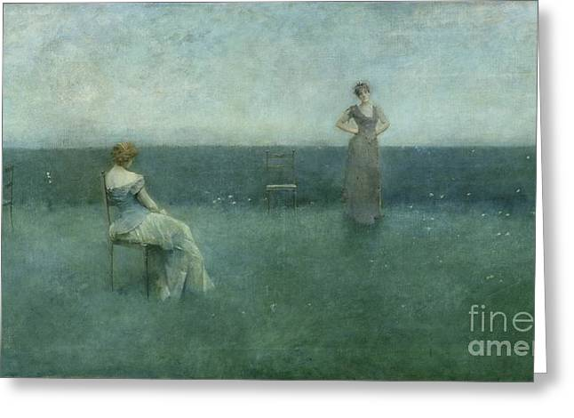 The Recitation Greeting Card by Thomas Wilmer Dewing