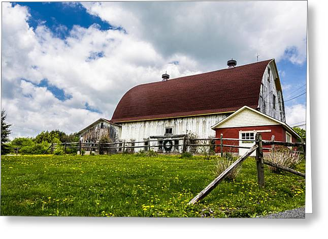 Greeting Card featuring the photograph The Red And White Barn by Paula Porterfield-Izzo