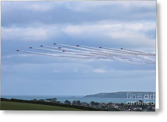 The Red Arrows Falmouth Week 2016 Greeting Card by Terri Waters