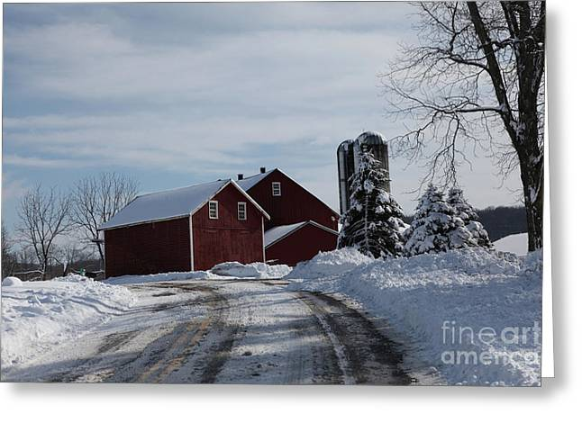 The Red Barn In The Snow Greeting Card