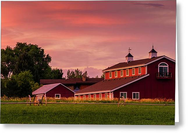 The Red Barn - Panoramic Greeting Card by TL Mair