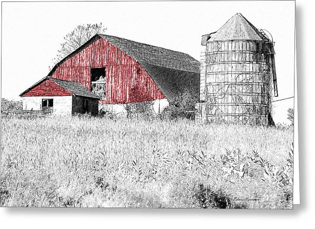 The Red Barn - Sketch 0004 Greeting Card