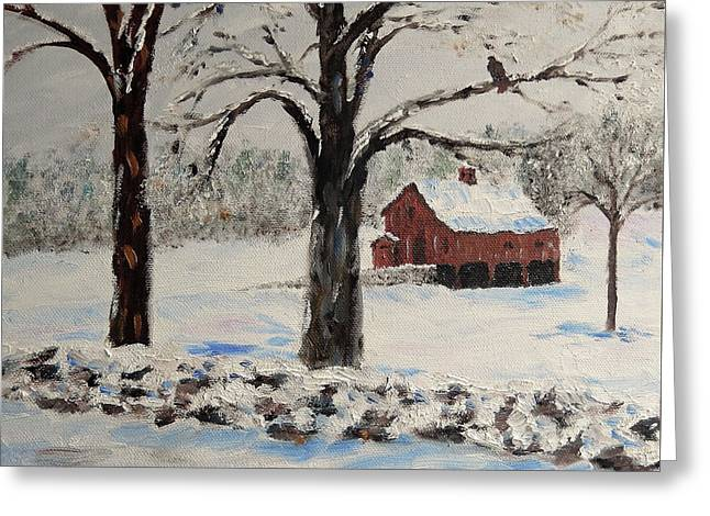 The Red Barn Greeting Card by Stanton Allaben