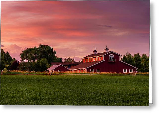 The Red Barn Greeting Card by TL Mair