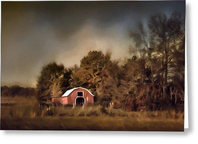 The Red Barn Welcomes Autumn Greeting Card by Jai Johnson