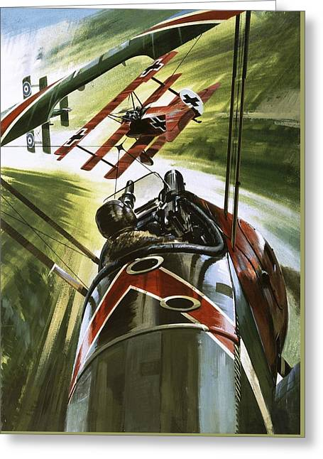 The Red Baron Greeting Card by Wilf Hardy