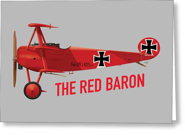 The Red Baron's Fokker Dr.1 - Side Print Greeting Card by Ed Jackson