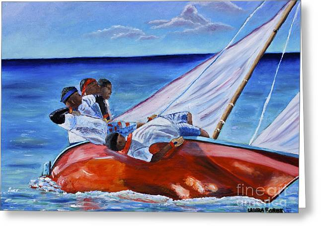 The Red Boat Greeting Card by Laura Forde