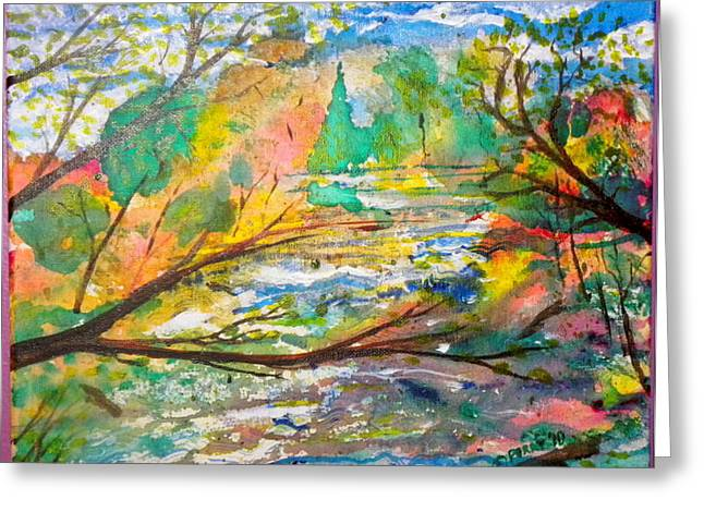 The Red Bridge At The Swift River Greeting Card by Perry Conley