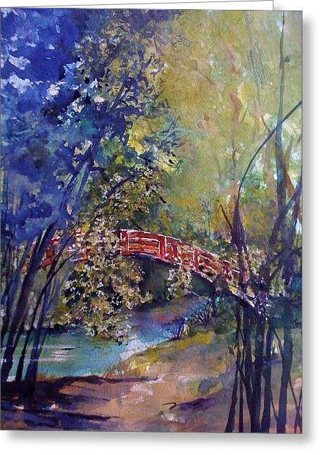 The Red Bridge Greeting Card by Robin Miller-Bookhout