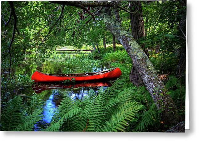 The Red Canoe On The Lake Greeting Card