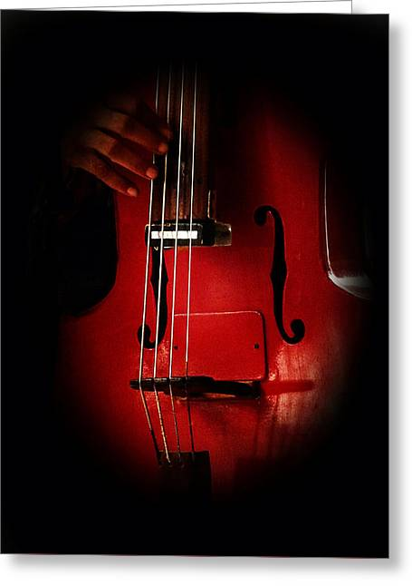 The Red Cello Greeting Card by Connie Handscomb