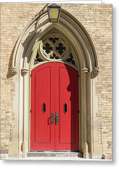 The Red Church Door. Greeting Card