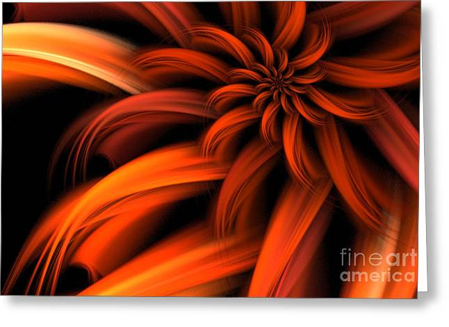 The Red Dahlia Greeting Card by John Edwards