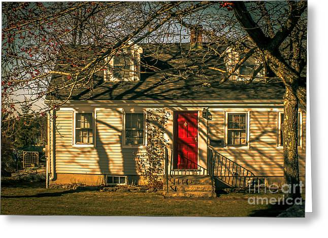 The Red Door House Greeting Card by Claudia M Photography