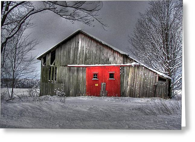 The Red Door Greeting Card by Maria Dryfhout