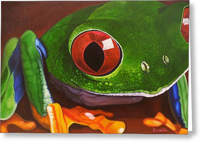 The Red Eye Greeting Card by Jon Ferrentino