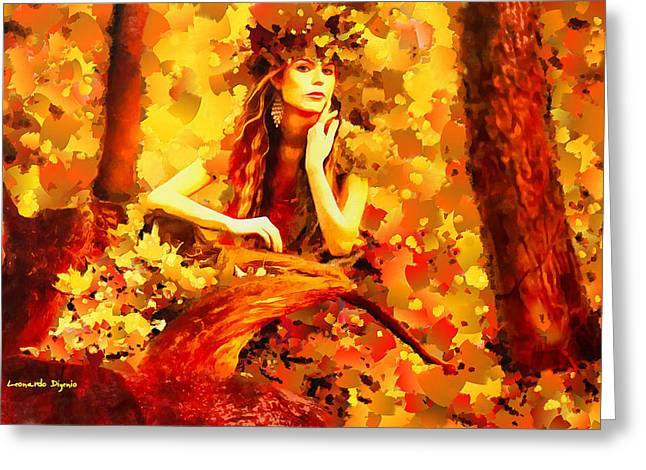The Red Forest Lady - Pa Greeting Card by Leonardo Digenio