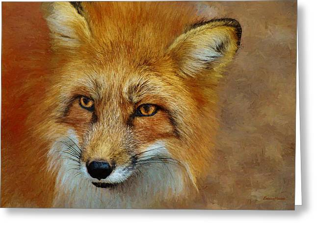 The Red Fox 658-painted Greeting Card by Ericamaxine Price