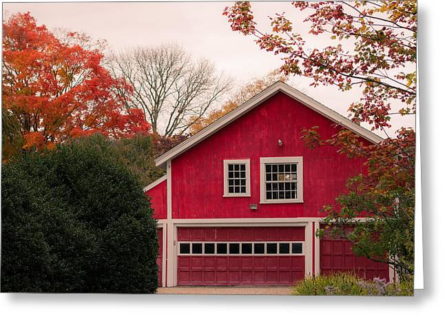 The Red Garage Greeting Card by Kirkodd Photography Of New England