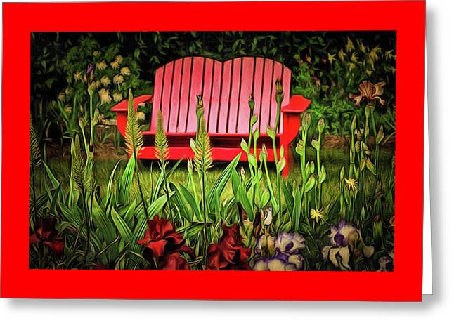 The Red Garden Bench Greeting Card by Thom Zehrfeld