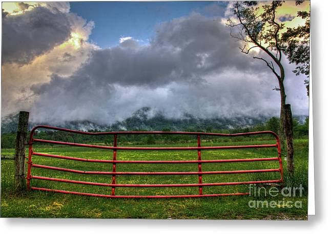 Greeting Card featuring the photograph The Red Gate by Douglas Stucky