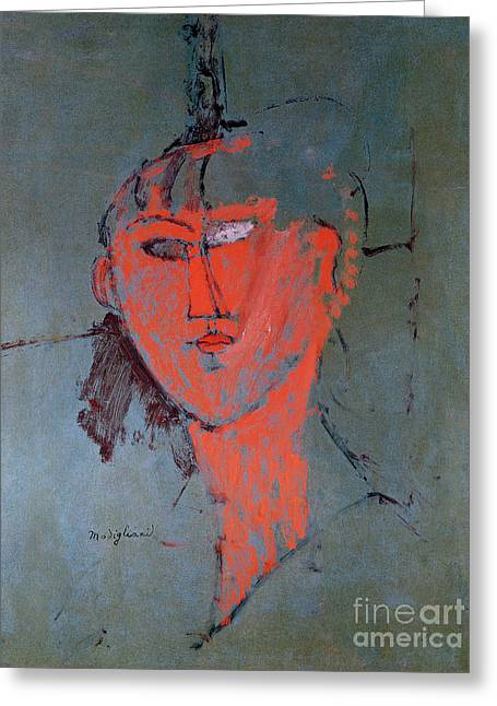 Rough Paintings Greeting Cards - The Red Head Greeting Card by Amedeo Modigliani
