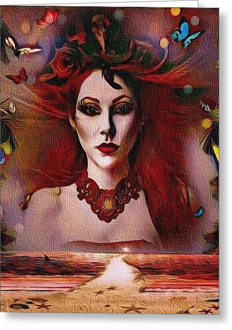 The Red Lady Shore Greeting Card