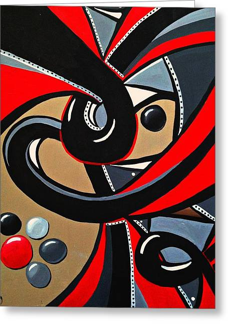 Red And Black Abstract Art Painting Greeting Card