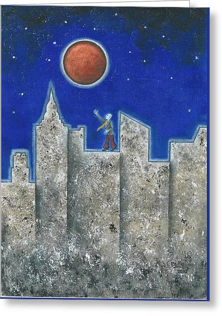 The Red Moon Greeting Card by Graciela Bello