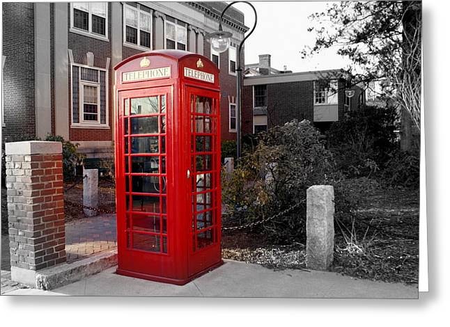 The Red Phonebooth Greeting Card by Lois Lepisto