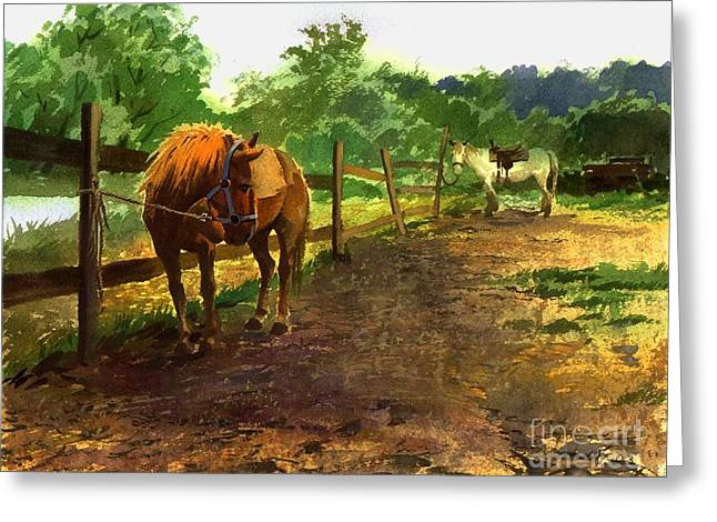Greeting Card featuring the painting The Red Pony by Sergey Zhiboedov