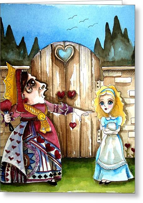 The Red Queen Greeting Card by Lucia Stewart