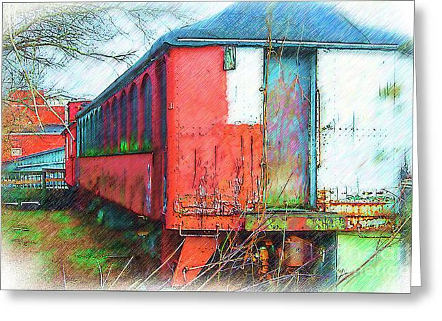 The Red Railroad Car Car Greeting Card